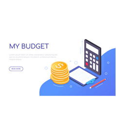 My budget - modern colorful isometric web banner vector