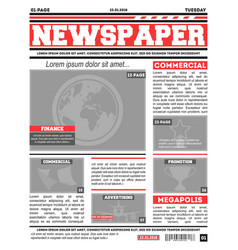 Newspaper page template vector