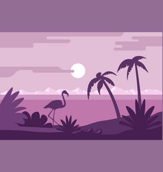 Night summer landscape beach with flamingo and vector