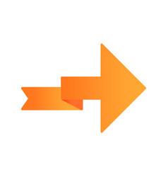 Orange arrow with folding line flat design long vector