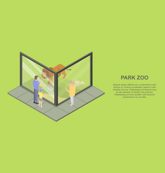 park zoo banner isometric style vector image