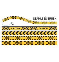 Police tapes yellow ribbon seamless brush stop vector