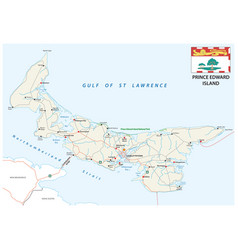 prince edward island road map with flag vector image