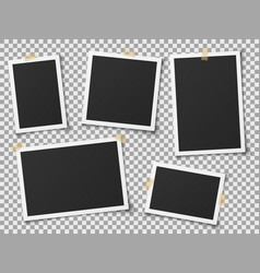 realistic photo frames vintage empty photos frame vector image