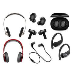 realistic wireless headphones set isolated vector image