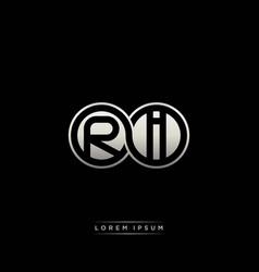 Ri initial letter linked circle capital monogram vector