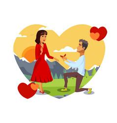 Romantic marriage proposal vector