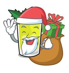 Santa with gift mint julep mascot cartoon vector