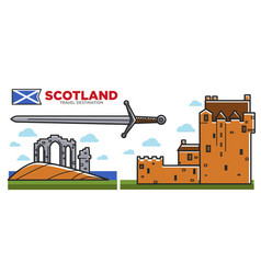 Scotland travel destination promo poster with vector