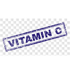 Scratched vitamin c rectangle stamp vector
