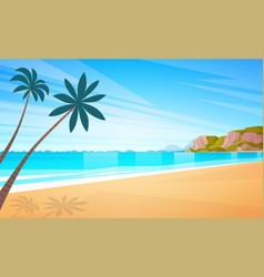Sea shore sand beach summer vacation blue sky sun vector