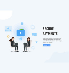 Secure payments web site page poster vector