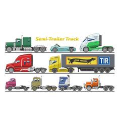 Semi trailer truck vehicle transport vector