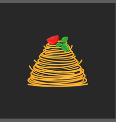Serving spaghetti dish with cherry tomato and vector