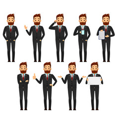 Set of businessman character design male in suit vector