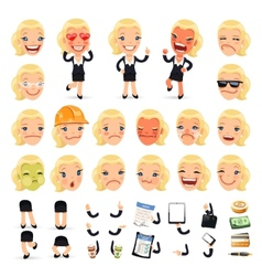 Set of Cartoon Businesswoman Character for Your vector