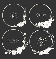 set of dividers round frames hand drawn flowers vector image