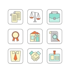 Set of modern flat line icons for legal vector