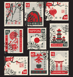 Set postage stamps on japanese theme vector