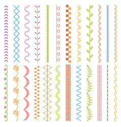 sewing stitches embroidery stitches borders vector image