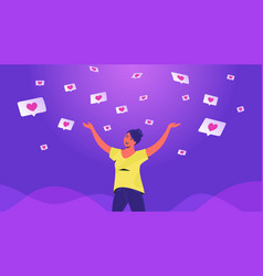 Social media likes and hearts flying down in vector