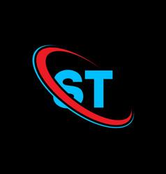 st s t letter logo design initial letter st vector image