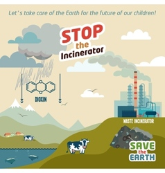 Stop the incineratior vector image