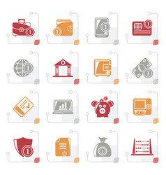 Stylized financial banking and money icons vector
