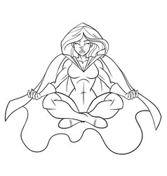 superheroine meditating line art vector image