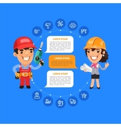 Team Working Cartoon Builders vector