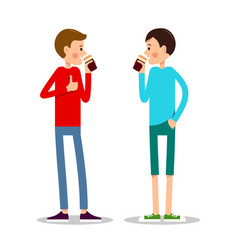 two boy stand and drink coffee vector image