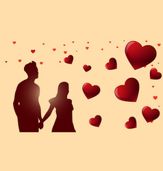 valentines day background with silhouette couple vector image