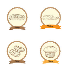 Vintage bakery products vector