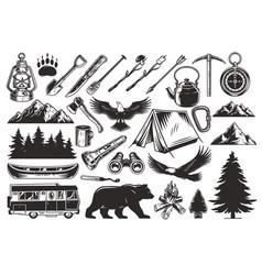 vintage monochrome camping elements set vector image