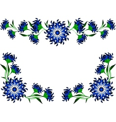 Vintage of blue flowers and leaves eps10 vector