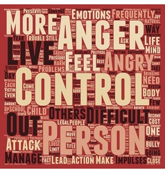 Why Do We Need to Control Anger text background vector image
