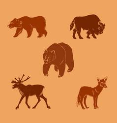 Wild animalshand drawn vector