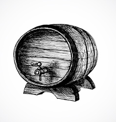 Wine cask sketch and vintage vector