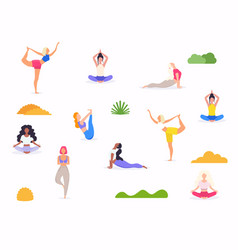 Woman in various poses yoga shapes woman vector