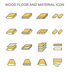 Wood floor and material icon set design on white vector