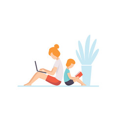 Young mother lying on floor and working on laptop vector