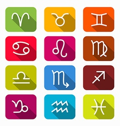 Zodiac Horoscope Colorful Symbols on Rounded vector image