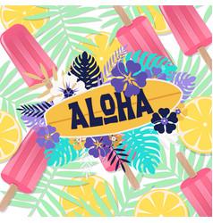 aloha ice cream jungle lemon background ima vector image