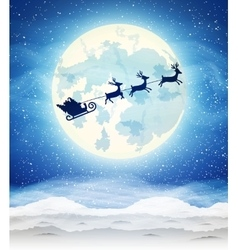 bright moon and the silhouette of Santa Claus vector image