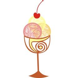 Ice cream sweet cherry vector image vector image