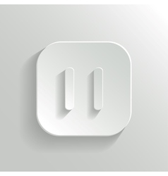 Pause icon - media player icon - white app button vector image vector image