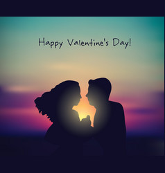 romantic couple sunset valentines day sign card vector image