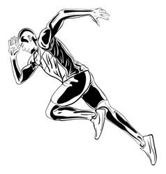 running man artwork ink drawing vector image vector image