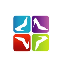 Shoe logo with colorful boxes vector image