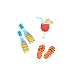 Vacation Set With Fins Fliip-Flops And Cocktail vector image